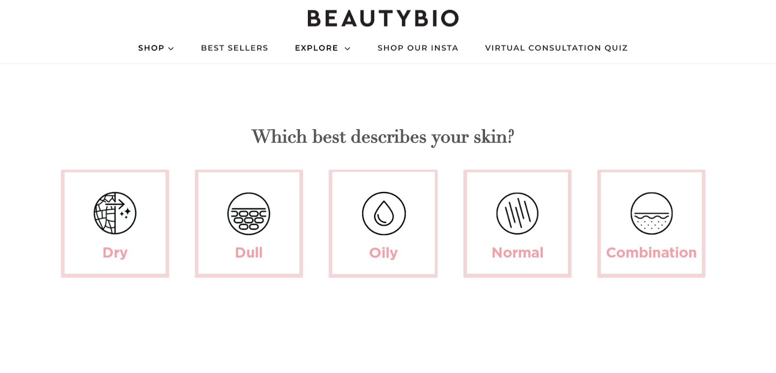 Screenshot of BeautyBio's quiz