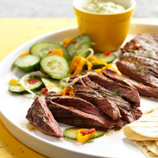 Spicy Skirt Steak with Avocado Dipping Sauce.