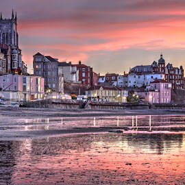 Cromer on the North Norfolk Coast, England by Dave Byford - Buildings & Architecture Other Exteriors ( cromer, england, colour, reflections, davebyford-photography.co.uk, uk, beach, sunset, buildings, church, great britain, water )