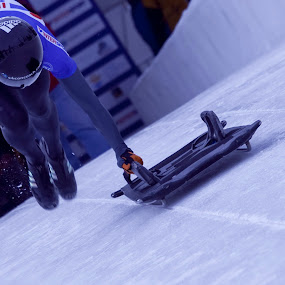 Katie Uhlaender at the Start by Jud Joyce - Sports & Fitness Snow Sports ( winter, racing, action, sports, olympic sport )