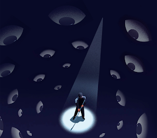 An illustration of a man standing in a dark room. A spotlight shines on him while eyes surround him, watching.