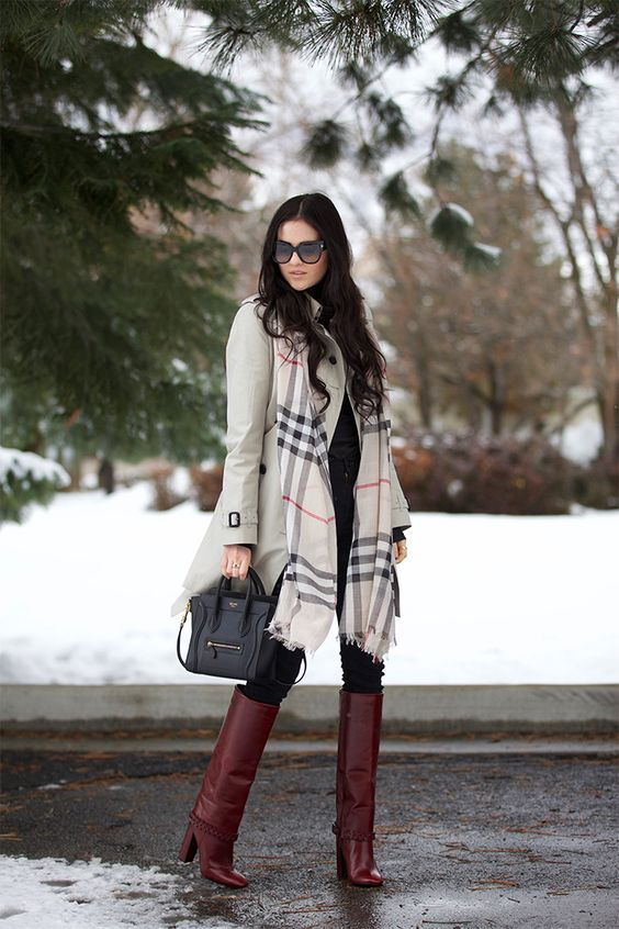Pretty look with neutral trench coat, checked scarf and burgundy boots for Deep Winter women