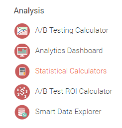 Statistical calculator in Analytics toolkit