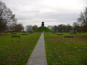 Photo: We move on to the less-well-known German cemetery at La Cambe, final resting place for more than 21,500 soldiers who fell in 1944. Here, the central mound of the memorial.