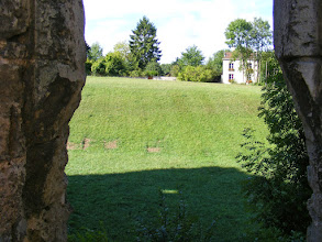 Photo: On the other side is a grassy rise which once contained the castle's moat.