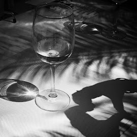 by Monita Alstadsæter - Black & White Objects & Still Life ( love, wine glass, black and white, table, drink )