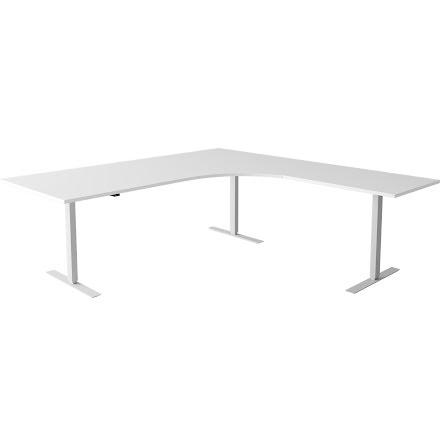Hörnskrivbord el silver/vit 18