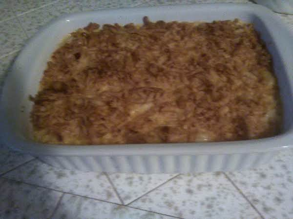 Pictured Is My Smoked Macaroni & Cheese W/bacon, Topped With French Fried Onions.