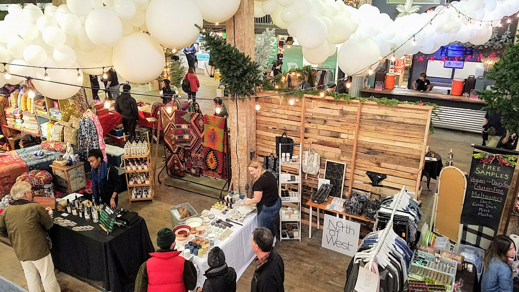 The vibe of the Portland Night Market, held every few months in the Central Industrial District in a warehouse, during the November 2016 market