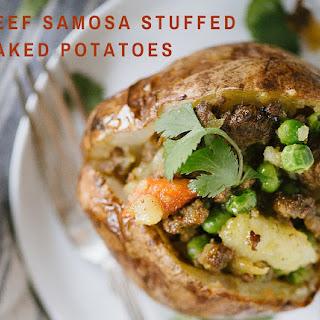 Beef Samosa Stuffed Baked Potatoes.