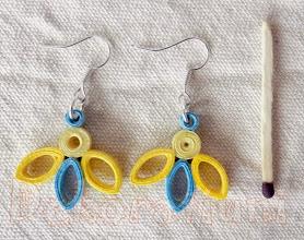 Photo: Cercei albaştri cu galben 01 tehnica quilling, lacuit Preţ: 10 lei În stoc: 1 bucată  http://dekoratiuni.blogspot.ro/2014/05/cercei-albastri-cu-galben-3-modele.html