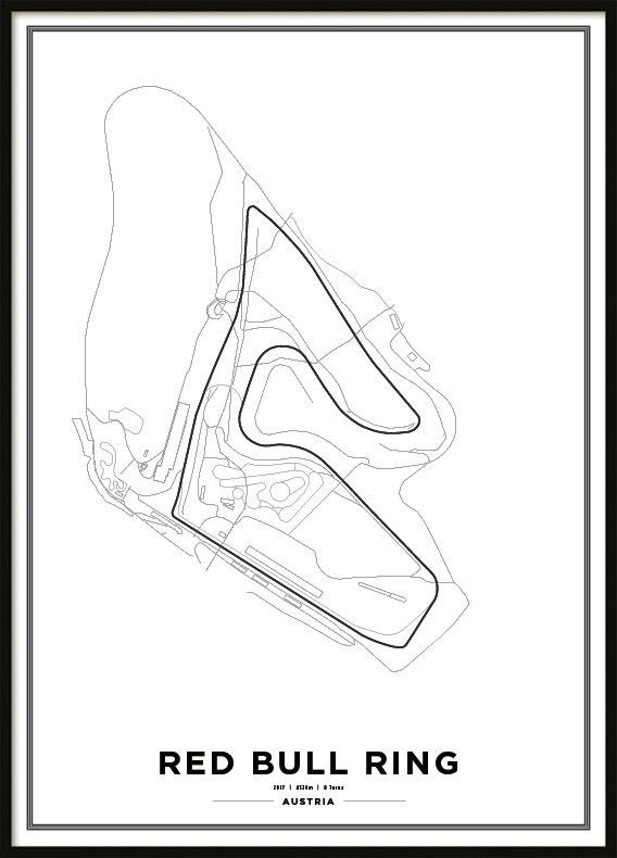 Poster, Red Bull Ring F1 print white