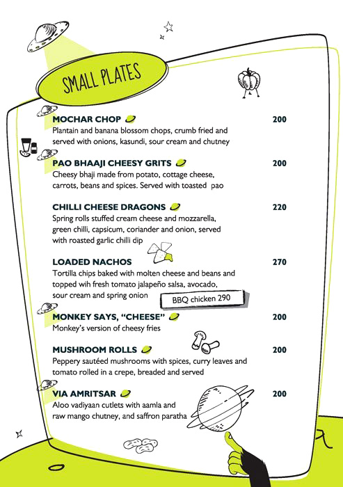 Monkey Bar menu 1