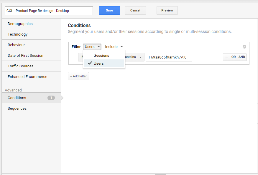 changing from session- to user-based segments in google analytics.