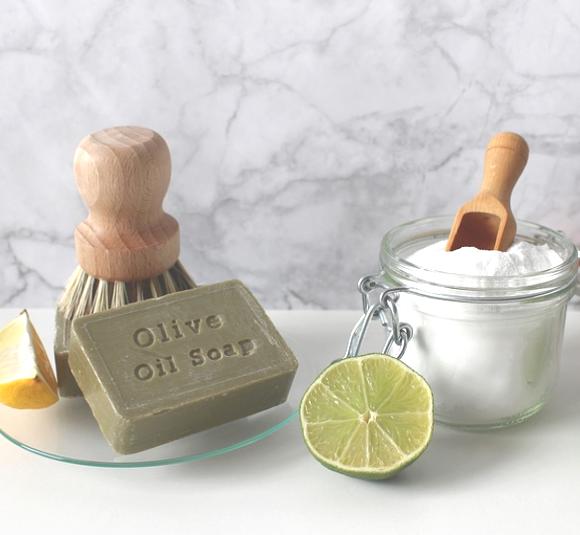 Non-toxic cleaning supplies lemon, olive oil, salt