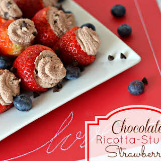 Chocolate Ricotta Stuffed Strawberries.