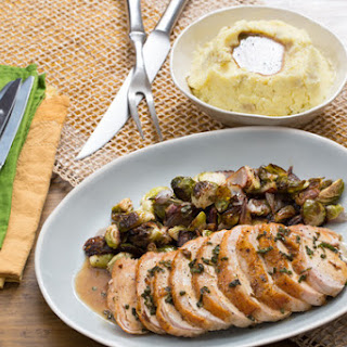 Roasted Turkey & Brussels Sprouts with Mashed Potatoes & Sage Gravy.