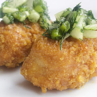 Baked Fish Sticks with Cucumber Dill Relish
