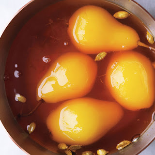 Poached Pears with Cardamom and Saffron