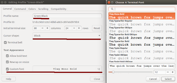 Ubuntu 16 04 LTS] How to Change Terminal Theme Font & Color