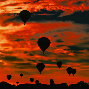 a burning sky by Dejan Gavrilovic - Landscapes Sunsets & Sunrises ( a burning sky blue balloons balloon,  )