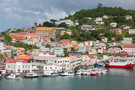grenada-harbor.jpg - Closeup of houses along the harbor of St. George's, Grenada.