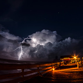Strike by David Ubach - Landscapes Weather ( clouds, lightning, night, beach, storm, boardwalk )