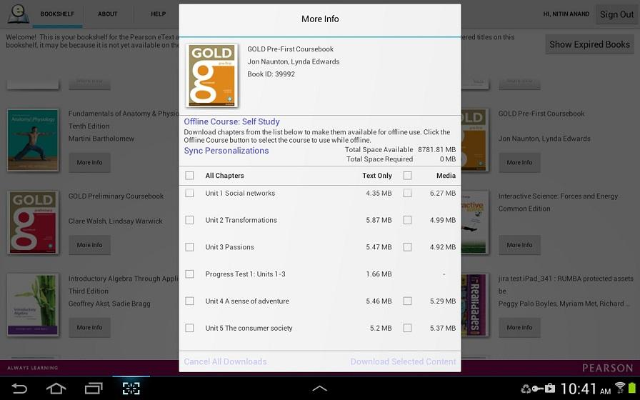 Pearson eText for Android- screenshot