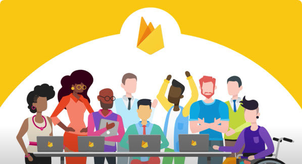 Illustration of a group of people standing and one man sitting in a wheelchair at a table with open laptops, with the Firebase logo at top