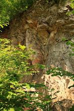"""Photo: Az alsó """"gutensteini mészkő"""" kalapáccsal megütve bitumenszagot áraszt és fekete színű a benne található szervesanyag miatt"""