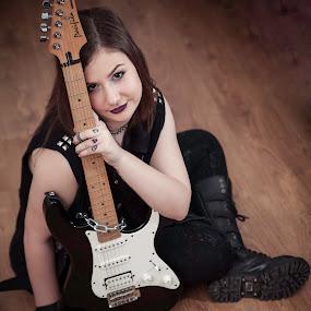 I love ROCK N ROLL by Doru Iachim - People Musicians & Entertainers ( happy, woman, guitar, rock, people, rocks )