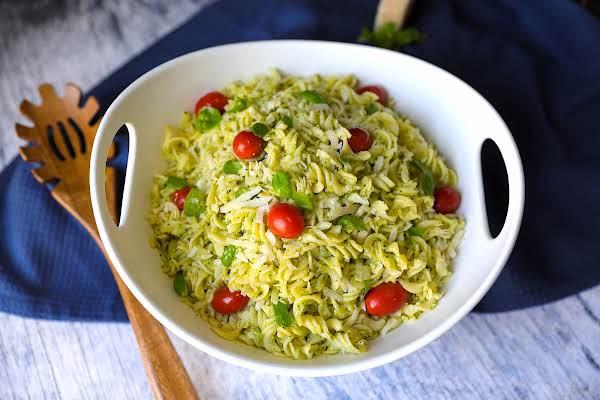 A Bowl Of Zucchini And Basil Pesto.