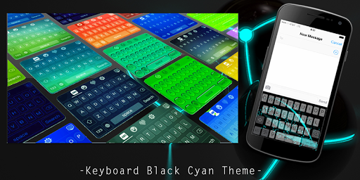 Keyboard Black Cyan Theme