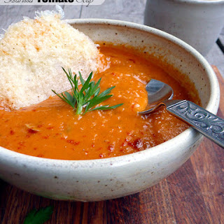 Harissa Tomato Soup w Cheese Crisps