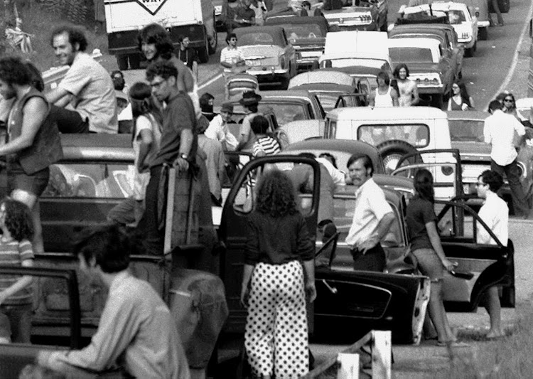Would-be Woodstock music festivalgoers trapped in an epic jam on the road to Bethel, New York on August 15 1969.