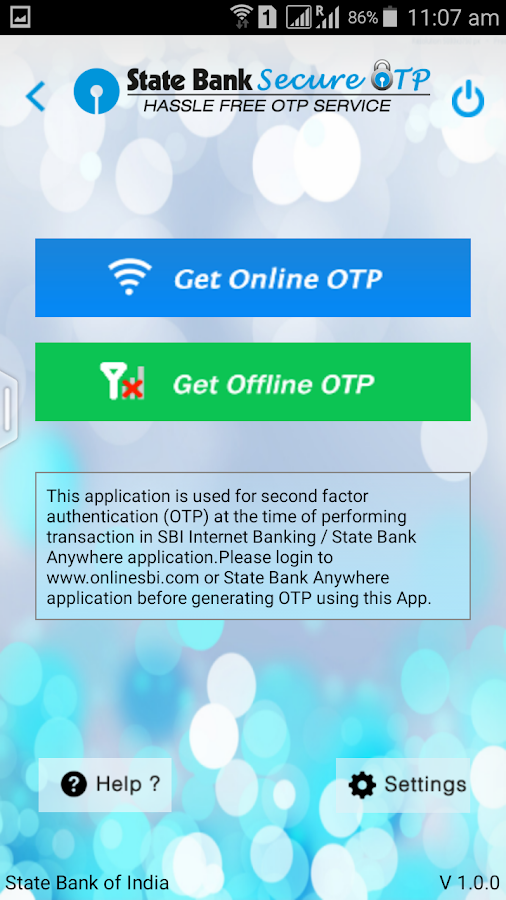 State Bank Secure OTP- screenshot