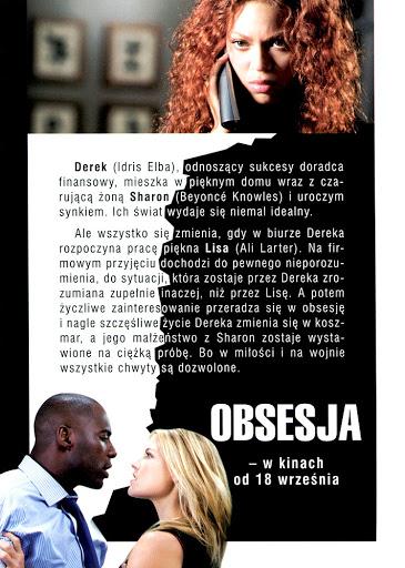 Tył ulotki filmu 'Obsesja'