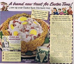 Photo: From Spry shortening, how to make a fried noodle basket, and a recipe for creamed ham and eggs.