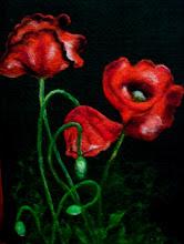 Photo: 204, Нетронина Наталья, Цветы-Маки Красные , Шерстяные, акриловые, вискозные волокна(сухое валяние шерсти), 40х30см