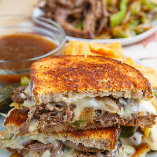 Slow Cooker Roast Beef Philly Cheesesteak French Dip Grilled Cheese Sandwich.