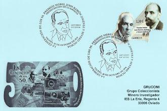 Photo: Tarjeta con el matasellos de Presentación en Luarca de la Hoja Bloque de la Generación de los 50 con el sello de Severo Ochoa