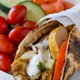 Chicken Shawarma Pita Wraps with Dill Yogurt Sauce.