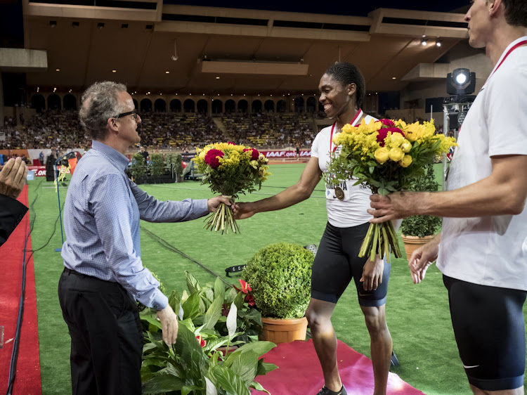 John Capriotti director of athletics at Nike congratulate Caster Semenya at the IAAF Diamond League athletics 'Herculis' meeting at The Stade Louis II on July 20, 2018 in Monaco.
