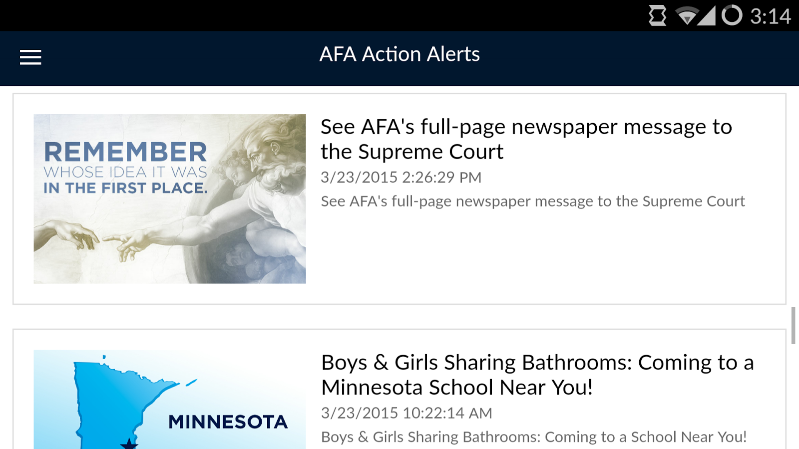Action Alerts- screenshot