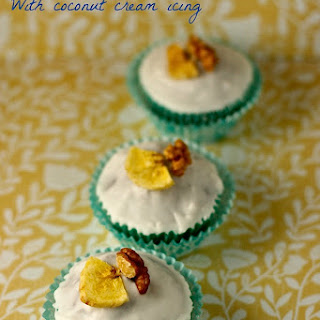 Banana and Walnut Cupcakes with Coconut Cream Icing Recipe
