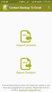 Backup Contact To Excel (Import & Export To XLSX) 1