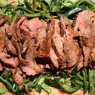 Coffee-Cured Carne Asada with Charred Poblanos
