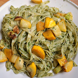 Pasta with Arugula Pesto and Zucchini Recipe