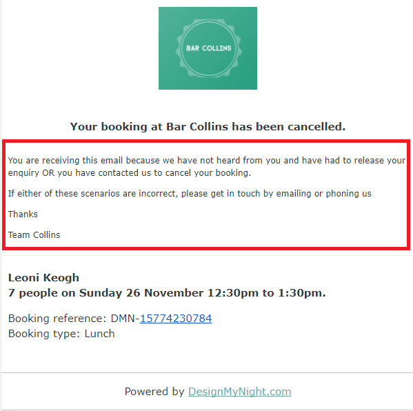Booking Types - Adding Text to the Cancellation Email Message