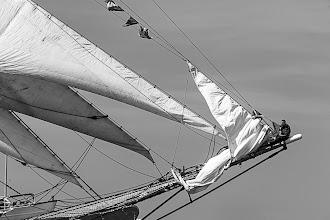 Photo: A sailor on the U. S. Coast Guard Barque Eagle in Boston Harbor, Boston, Massachusetts, USA